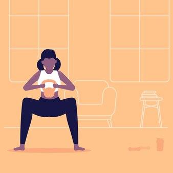Mädchen trainieren zu hause, machen kniebeugen, trainieren im wohnzimmer