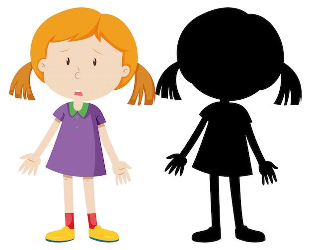 Mädchen traurig enttäuscht mit seiner silhouette