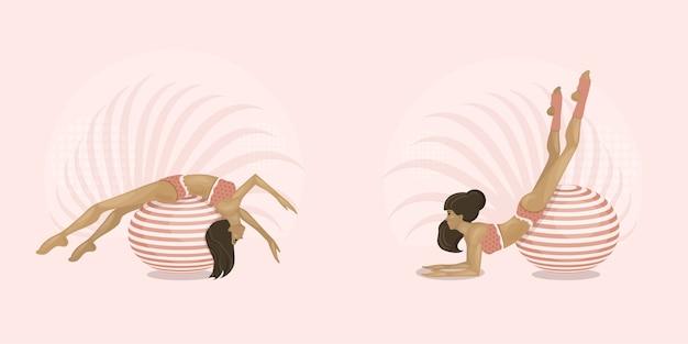 Mädchen treiben sport auf gymnastikbällen. aerobic auf fitball. gesunder lebensstil, zuhause oder fitnessraum. illustration.
