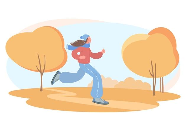 Mädchen treibt sport illustration eines mädchens, das in einem herbstpark joggt