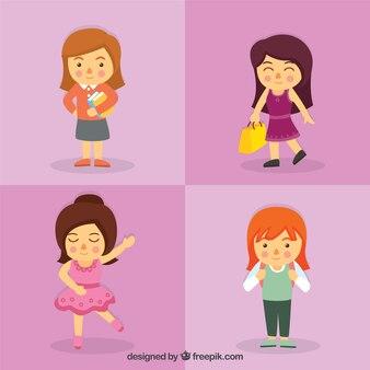 Mädchen tun diferent aktivitäten