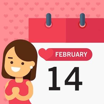 Mädchen über kalenderseite happy valentines day greeing horizontal banner