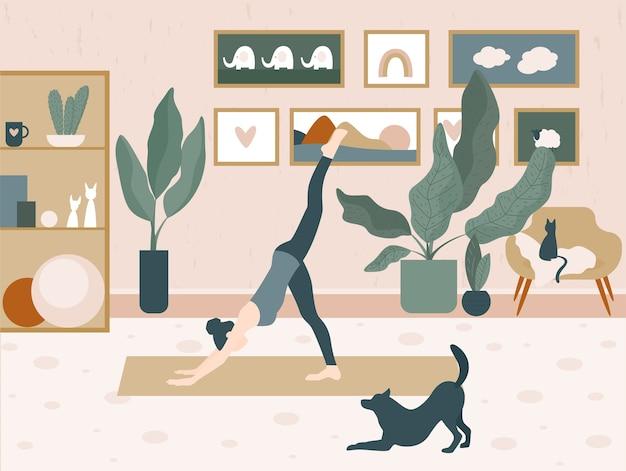 Mädchen und ein hund tun yoga zu hause karikaturillustration