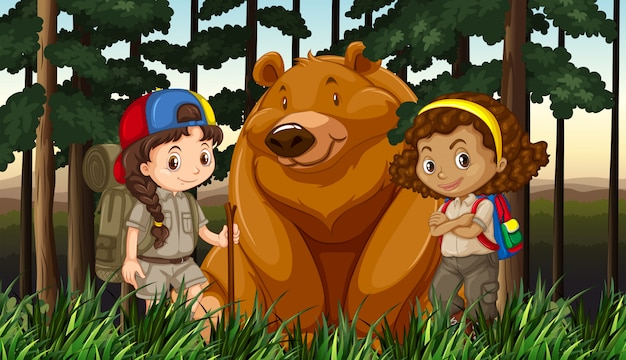 Mädchen und grizzlybär im dschungel