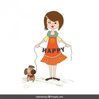 Mädchen und hund mit schriftzug