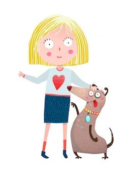 Mädchen und hundefreunde Premium Vektoren