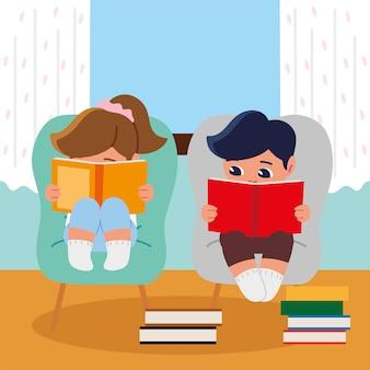 Mädchen und junge lesen auf stuhl