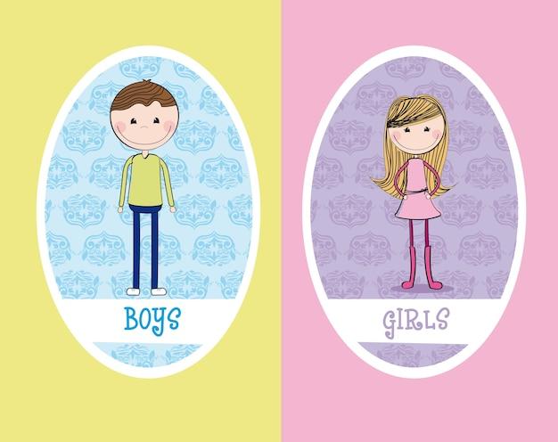 Mädchen und jungen kreisen zeichen restroomvektorillustration ein