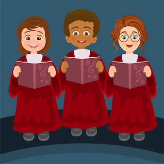 Mädchen und jungen singen