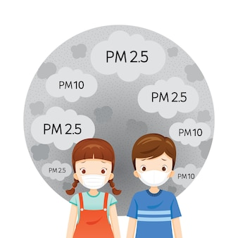 Mädchen und jungen tragen luftverschmutzungsmaske zum schutz von staub, rauch, smog