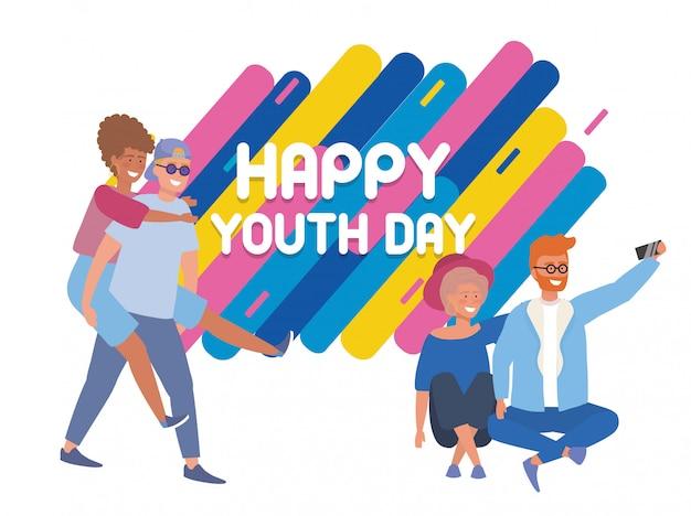 Mädchen und jungen verbinden mit feiertagsfeier