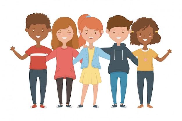 Mädchen- und jungenfreundschaftsentwurf
