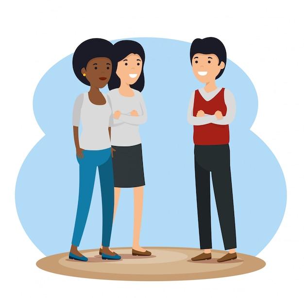Mädchen- und jungengemeinschaft mit sozialer mitteilung