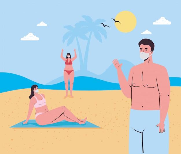 Mädchen- und jungenkarikaturen mit medizinischen masken am strandvektordesign