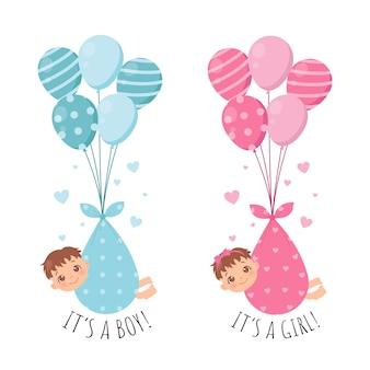Mädchen und jungenkind fliegen mit luftballons