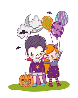 Mädchen- und jungenkostüme mit ballonen und kürbis