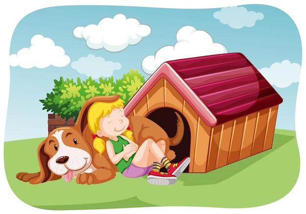 Mädchen und schoßhund im garten