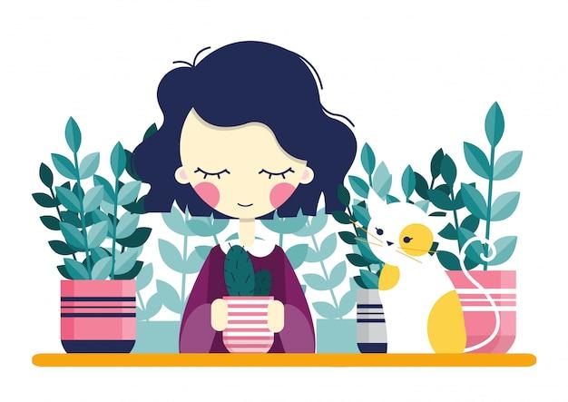 Mädchen und zimmerpflanzen