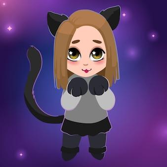 Mädchen verkleiden sich als katzenfrau. halloween.