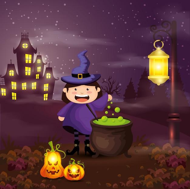 Mädchen verkleidet von der hexe in der szenenhalloween-illustration