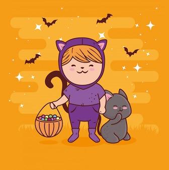 Mädchen verkleidet von niedlichen katze für glückliche halloween-feier mit tierkatze und süßigkeiten vektor-illustration design