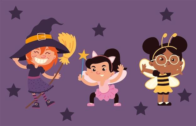 Mädchen verschiedene kostüme