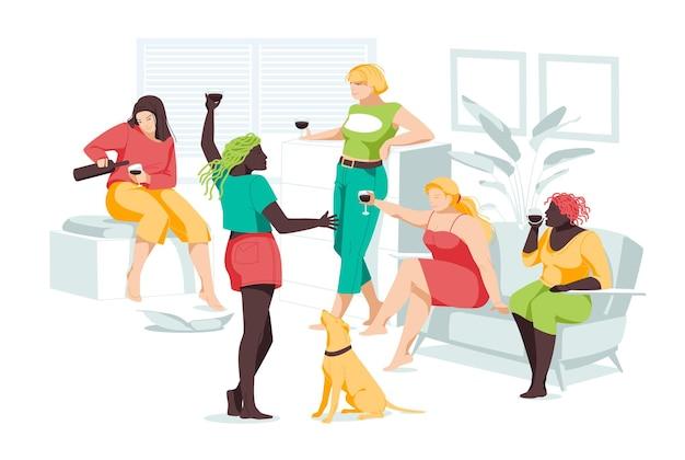 Mädchen verschiedener rassen und körperbau entspannen sich gemeinsam im raum. frauenfreundschaft und beziehungen. eben. körper positiv