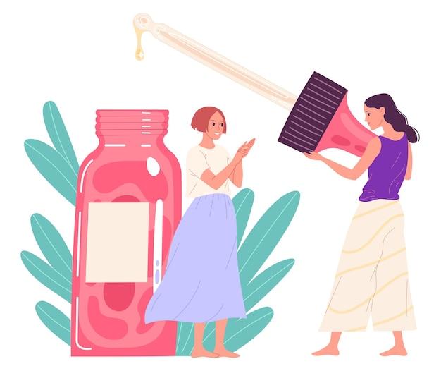 Mädchen verwenden kosmetisches gesichtsöl. vektor-illustration.