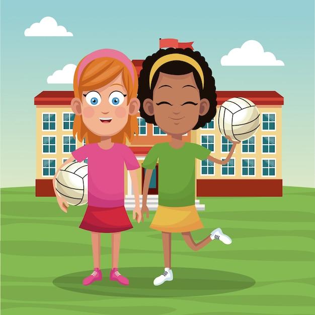Mädchen voleyball schulmannschaft