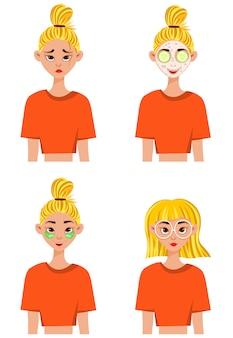 Mädchen vor und nach dem auftragen einer schönheitsmaske