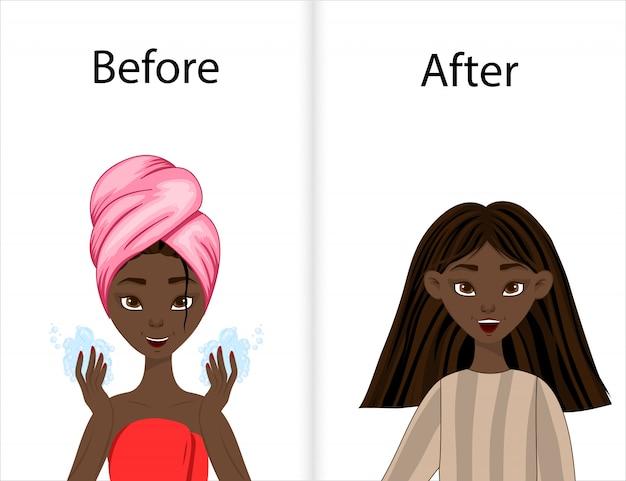 Mädchen vor und nach dem haarstyling. cartoon-stil. illustration.