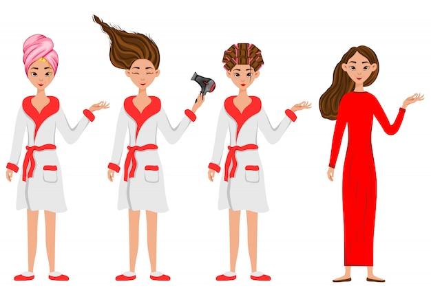 Mädchen vor und nach kosmetischen eingriffen
