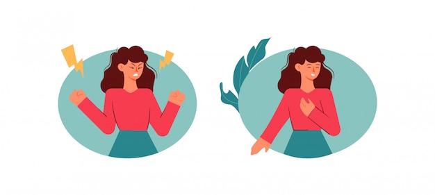 Mädchen während pms. weibliche stimmungsschwankungen mit menstruationsbeschwerden krämpfe schmerzen beruhigen.