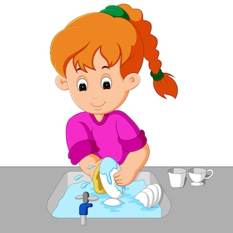 Mädchen wäscht das geschirr