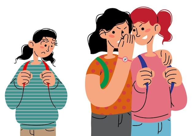 Mädchen werden in der flachen vektorillustration der schule gemobbt