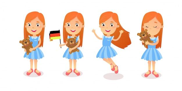 Mädchen-zeichensatz. cartoon mädchen. zeichensatz-posen und emotionen für animationen und illustrationen.