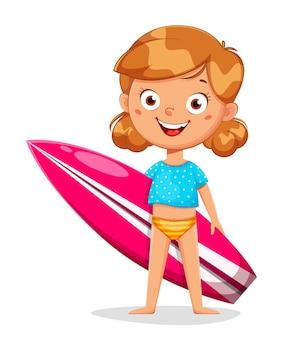 Mädchen-zeichentrickfigur mit surfbrett lokalisiert auf weiß