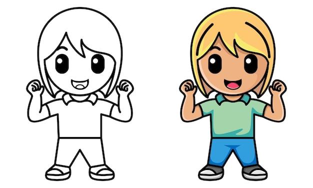 Mädchen zeigt ihren bizeps malvorlagen für kinder