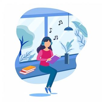 Mädchen zu hause, das buch liest, während musik hört