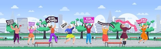 Mädchenaktivistinnen, die plakate halten weibliche ermächtigungsbewegung frauenmachtkonzept stadtpark-stadtbildhintergrund horizontale vektorillustration in voller länge