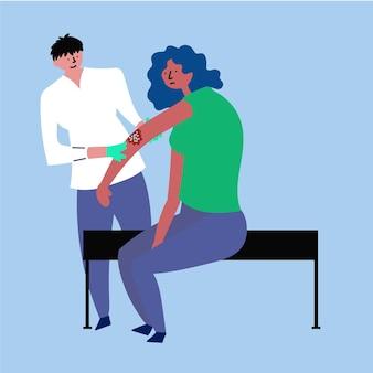 Mädchenaufnahmearzt behandlung von ekzem-psoriasis