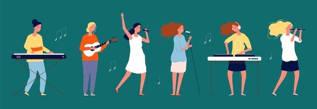 Mädchenband. musikerinnen und sängerinnen mit musikinstrumenten. frauen singen teamcharaktere.