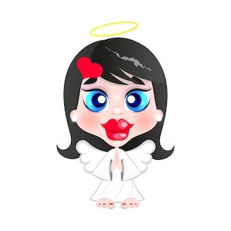 Mädchenengel mit heiligenschein auf dem kopf illustration auf weißem hintergrund