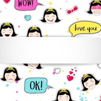 Mädchenfahne mit anime emoji muster. niedliche aufkleber mit emoticon und 3d-papier. kindliches mädchenfahne mit kawaii asiatischen gesichtern.