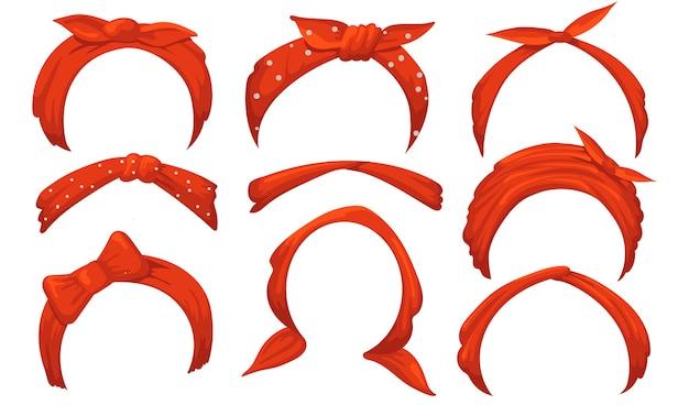 Mädchenhafte haarbänder eingestellt. rotes kopftuch mit schleife, gebundenes taschentuch, stirnbänder.
