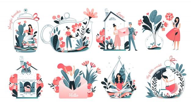 Mädcheninnenweltkonzept, introvertierter persönlichkeitskomfort, gemütliches zuhause und phantasieset, illustration