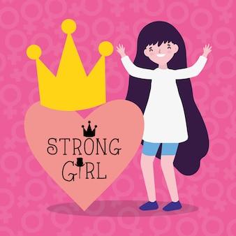 Mädchenkarikatur der energie und stark