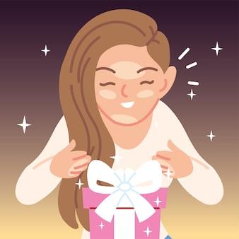 Mädchenkarikatur-eröffnungsgeschenk, alles- gute zum geburtstagfeierdekorations-fest- und überraschungsthemaillustration