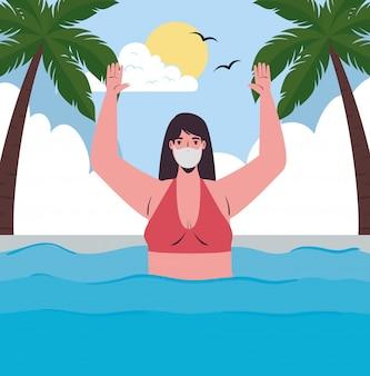 Mädchenkarikatur mit bikini und medizinischer maske am seevektorentwurf