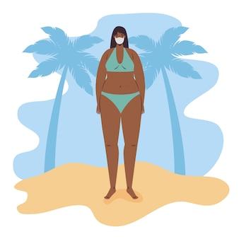 Mädchenkarikatur mit bikini und medizinischer maske am strandvektorentwurf